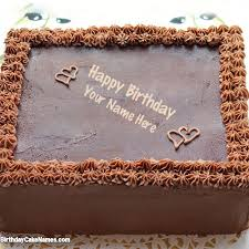 Write name on Square Chocolate Cake with Name