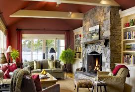 Stately Rustic Living Room Traditional Decorating Ideas With Stone Fireplaces And Classic Sofas