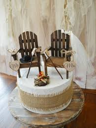 Camping Wedding Cake Topper Country Rustic Weddings Wood Chairs Smores Campfire Anniversary Mr Mrs Sign Hunting Fishing Groom Fall