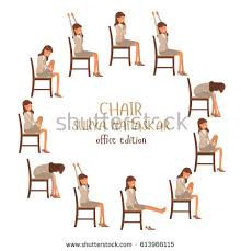Round Vector Illustration Of Chair Sun Salutation Positions Woman In Suit Doing Yoga At Work