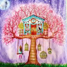 Art Coloring Book And Cherry Tree Image