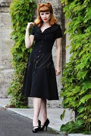topvintage exclusive 50s esmeralda black bow swing dress