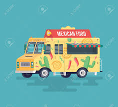 Vector Colorful Flat Mexican Food Truck. Traditional Mexican ...