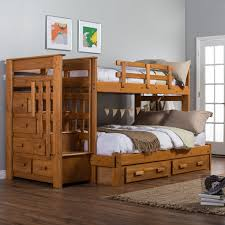 Woodcrest Heartland Twin over Full Stairway Bunk Bed Honey