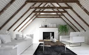 dachboden wohnzimmer in minimalistischen innenarchitektur mit weißem sofa kamin und couchtisch 3d rendering