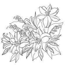 Lily Flower Drawing Outline Tattoos Piercings Flower Coloring