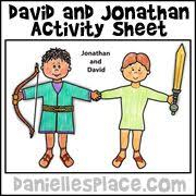 David And Jonathan Bible Activity Sheet From Daniellesplace For Childrens Sunday School