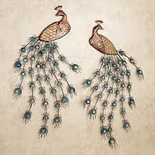 Proudly Displaying Vibrant Plumage The Adoring Peacocks Metal Wall Art Set Will Add An Exotic