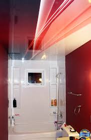 Newmat Light Stretched Ceiling by Residential Bathroom Stretch Ceiling In High Gloss Red With A