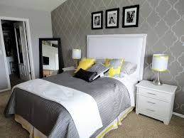 Gray And Yellow Bedroom With Black White Love The Stenciled Wall