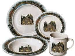 43 Cabin Style Dinnerware Stoneware Set 16 Piece Elk