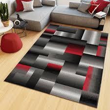 teppich kurzflor modern schwarz grau rot weiß meliert