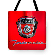 100 Ford Truck Emblems 1950s F100 Omatic Pickup Hood Tote Bag For