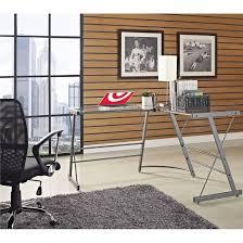 odin glass l shaped computer desk gray ameriwood home target