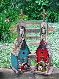 Large Rustic Church Birdhouse With Bell Each Is Unique Signed By The Artist Vintage Hardware Old World Style For Birds