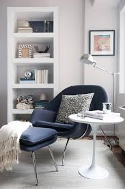 Living Room Corner Shelving Ideas by Modern Gray Lounge Chair With White Round Coffee Table And Curved