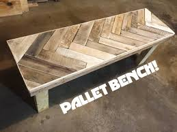 DIY Herring Bone Patterned Pallet Bench