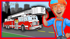 100 Fire Trucks Kids Blippi Songs For Nursery Rhymes Compilation Of Truck And