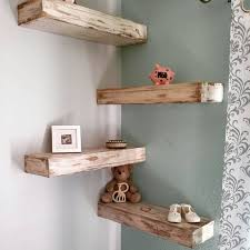 Cool Floating Shabby Chic Shelves Gray Wooden Shelf Placed On The White Wall Photo