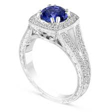 Vintage Style Blue Sapphire Engagement Ring Platinum Wedding Hand Engraved 158 Carat Unique Handmade