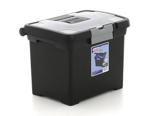 Sterilite Office Portable Letter Storage File Box - Black