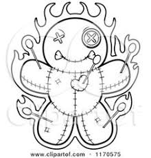 Cartoon Clipart Of A Burning Voo Doo Doll