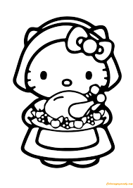 Hello Kitty And Food Coloring Page