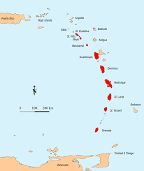 Eastern Caribbean Islands Volcanic Are Shown In Red