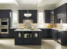 KitchenKitchen Design With Black Cabinets And Hanging Lamp Also Wood Floor Ideas