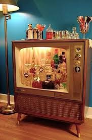 No Space For A Full Bar Turn An Old TV Into Retro Liquor Cabinet