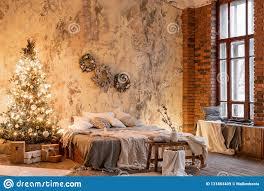 100 Brick Loft Apartments Wall With Candles And Christmas Tree