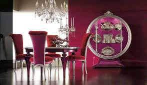 Luxury Dining Room With Purple Accent Wall Color