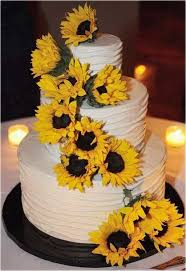 Captivating Wedding Cakes With Sunflower 30 On Dessert Table