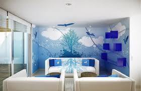 Marvelous Room Wall Designs With Scenary Painting Plus Simple Downlight On Plain Ceiling Above Two Round