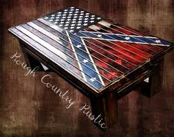 Deluxe Home Defense Coffee Table Charred American Flag With Torn In Confederate Battle Heritage Not Hate