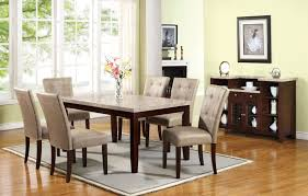 Acme 17058 10284 7 Pc Britney White Marble Top Dining Table Set Cream Faux Leather Chairs