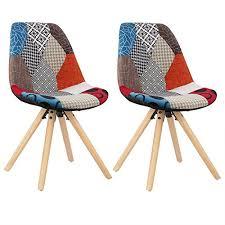 woltu bh52mf 2 2 x esszimmerstühle 2er set esszimmerstuhl mit sitzfläche aus leinen design stuhl küchenstuhl holz patchwork mehrfarbig