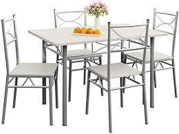 casaria 5 tlg sitzgruppe paul esstisch mit 4 stühlen weiß für esszimmer küche essgruppe küchentisch tisch stuhl set