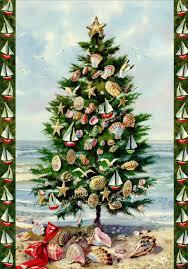 Sailboat Ornaments In Tree On Beach Box Of 18 Nautical Coastal Christmas Cards