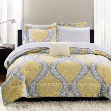 Mainstays Yellow Damask Coordinated Bedding Set Bed in a Bag