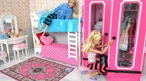 barbie bedroom bunk bed morning routine دمية باربي غرفة نوم