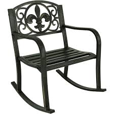 Sunnydaze Decor Fleur-de-Lis Black Cast Iron Outdoor Rocking ... 0 All Seasons Equipment Heavy Duty Metal Rocking Chair W The Top Outdoor Patio Fniture Brands Cane Back Womans Hat Victorian Bedroom Remi Mexican Spalted Oak Taracea Leigh Country With Texas Longhorn Medallion Classic Porch Rocker Ladderback White Solid Wood Antique Rocking Chair Wood Rustic Pagadget Worlds Largest Cedar Star Of Black
