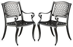 Cast Aluminum Outdoor Sets by Marietta Dining Chairs Set Of 2 Traditional Outdoor Dining