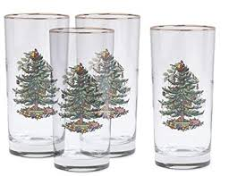 Spode Christmas Tree Hiball Glasses Set Of 4