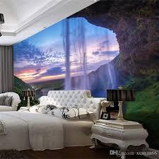 großhandel 3d wallpaper schöner sonnenuntergang wasserfall fototapete wohnzimmer esszimmer hintergrund wand papier modern home decor fresken