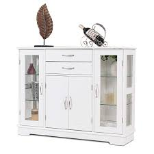 Giantex Sideboard Buffet Server Storage Cabinet W 2 Drawers 3 Cabinets And Glass Doors For Kitchen Dining Room Furniture Entryway Cupboard Console