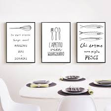 Online Shop Italian Quotes Wall Art Canvas Painting Kitchen Decoration Decorative Picture Living Room Home Decor No Frame