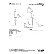 Kohler Fairfax Kitchen Faucet Diagram by Kohler K 193 4 Cp Devonshire Polished Chrome One Handle Bathroom