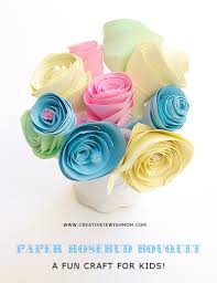 Paper Rosebud Bouquet Craft For Kids