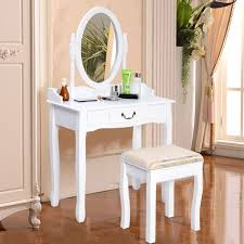 Vanity Table Jewelry Makeup Desk Bench Dresser w Stool 3 Drawer
